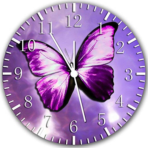 Purple butterfly clock